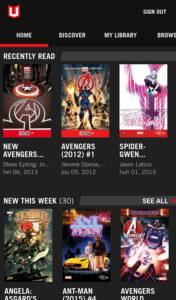 Kuvankaappaus Marvel Unlimitedin Android-appin etusivulta.