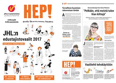 JHL:n vasemmiston ja sitoutumattomien vaalilehti 2017 (kansi ja 2-sivu)