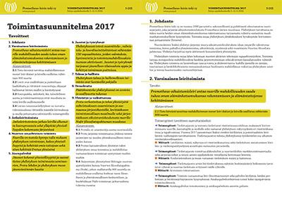 Prometheus-leirin tuki ry:n toimintasuunnitelma 2017